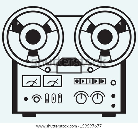 Reel tape recorder isolated on blue background - stock vector