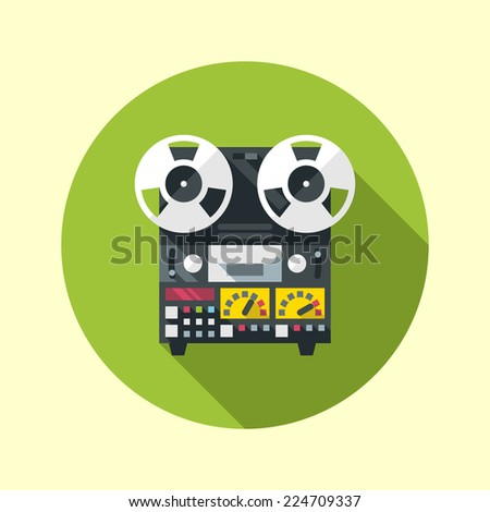Reel to reel tape recorder icon. Flat design long shadow. Vector illustration. - stock vector