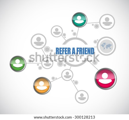 refer a friend community network sign concept illustration design - stock vector