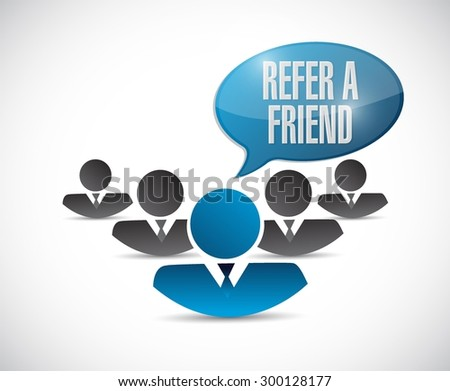 refer a friend teamwork sign concept illustration design - stock vector