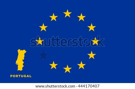 Referendum of the Portugal membership of the European Union. EU flag with the country of Portugal. The concept of leaving EU. Vector illustration - stock vector