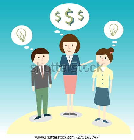 Referrals friend Cartoon concept for Business  - stock vector