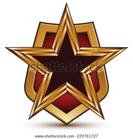 Refined vector golden star emblem placed on a shield, 3d pentagonal glossy design element, clear EPS 8. - stock vector