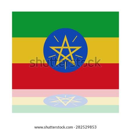 reflection flag ethiopia - stock vector