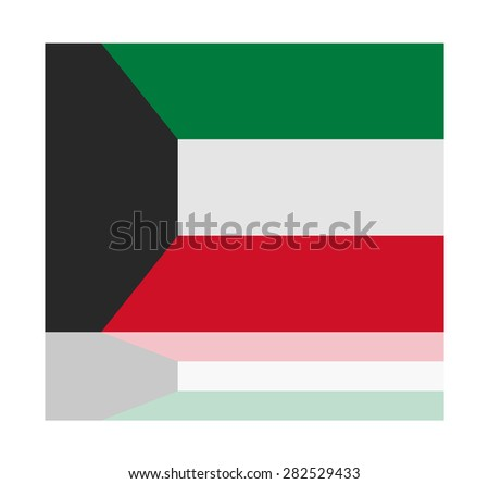 reflection flag kuwait  - stock vector
