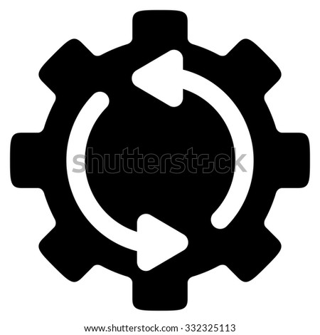 Refresh Engine vector icon. Style is flat symbol, black color, rounded angles, white background. - stock vector