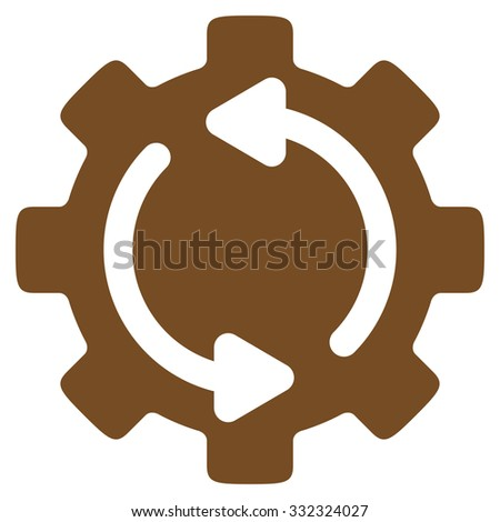 Refresh Engine vector icon. Style is flat symbol, brown color, rounded angles, white background. - stock vector