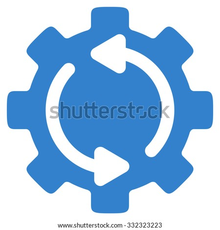 Refresh Engine vector icon. Style is flat symbol, cobalt color, rounded angles, white background. - stock vector