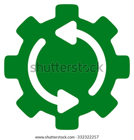 Refresh Engine vector icon. Style is flat symbol, green color, rounded angles, white background. - stock vector