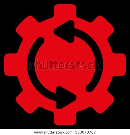 Refresh Engine vector icon. Style is flat symbol, red color, rounded angles, black background. - stock vector