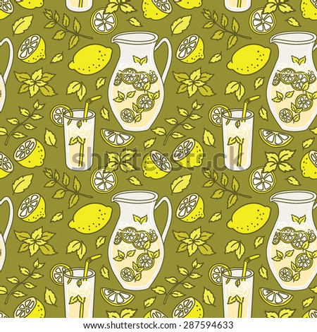 Refreshing summer seamless pattern with lemonade. Lemon and mint! - stock vector