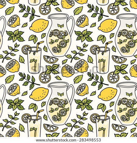 Refreshing summer seamless pattern with lemonade. Lemon and mint! Vector illustration - stock vector