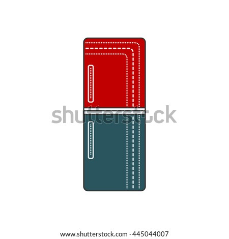 Refrigerator Closed. Refrigerator red and blue icon. Cold door illustration isolated. Retro fridge. - stock vector