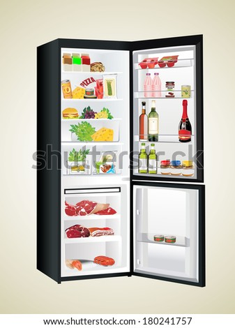 refrigerator full with some kinds of food - vegetables, meat, fish - stock vector