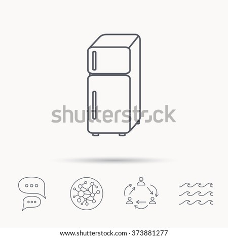 Refrigerator icon. Fridge sign. Global connect network, ocean wave and chat dialog icons. Teamwork symbol. - stock vector