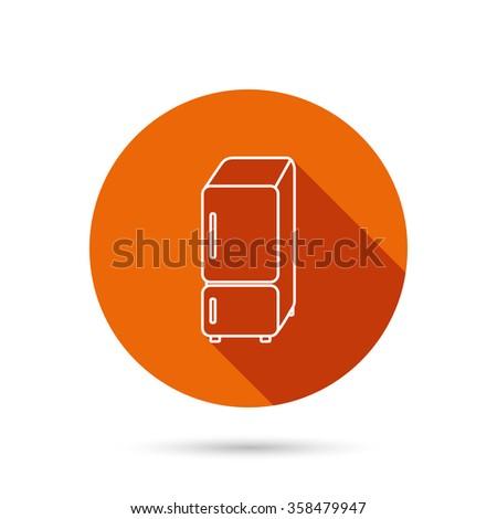 Refrigerator icon. Fridge sign. Round orange web button with shadow. - stock vector