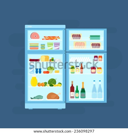 Refrigerator With Food Icons Flat Style Illustration on Blue Background - stock vector