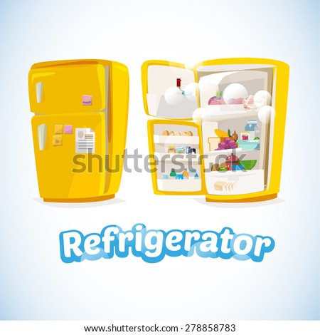 Refrigerator with Full Of Food. Closed and Opened.cute and cartoon style. cool ice typographic design. kitchen concept  - Vector Illustration - stock vector