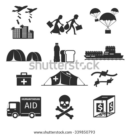 Refugees evacuee concept. War victims black icons set. Bombing and help, humanitarian aid and evacuation, vector illustration - stock vector