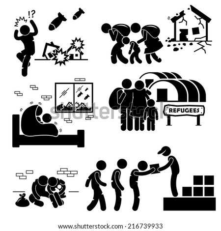 Refugees Evacuee War Stick Figure Pictogram Icons - stock vector
