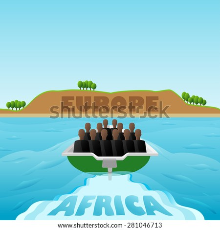 Refugees from Africa to Europe. Vector Illustration - stock vector