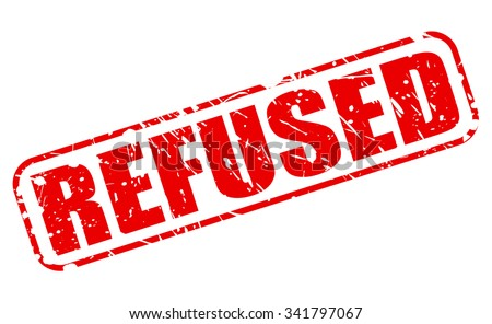 REFUSED red stamp text on white - stock vector