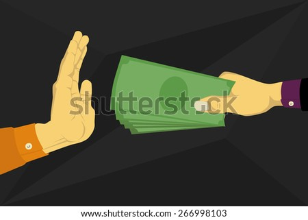 Refusing the money offered - stock vector