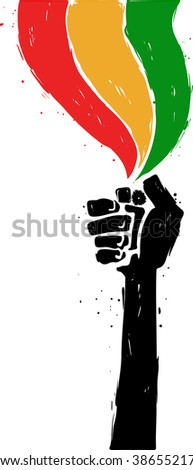 Reggae hand draw illustration. Hand with lighter. - stock vector