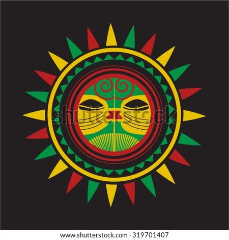 Reggae Sun Design - stock vector