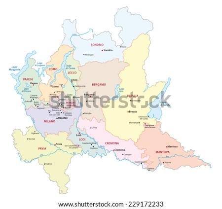 region lombardy map - stock vector