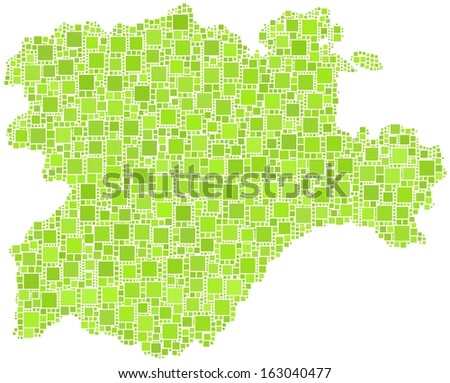 Region of Castile and Leon - Spain - in a mosaic of green squares - stock vector