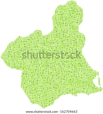 Region of Murcia - Spain - in a mosaic of green squares.  A number of 5885 little squares are accurately inserted into the mosaic. White background. - stock vector