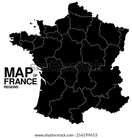 Regions map of France - stock vector
