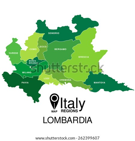 Regions map of Italy. Mappa delle regione Lombardia Expo - stock vector