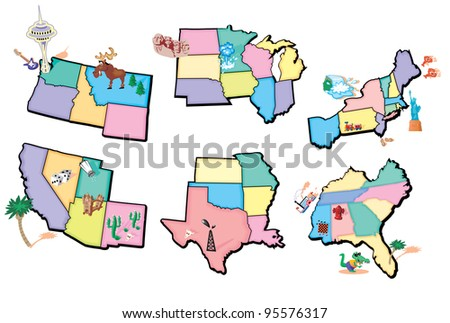 Regions of the USA Mag - stock vector