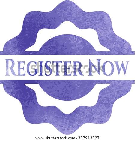 Register Now aquarelle texture - stock vector