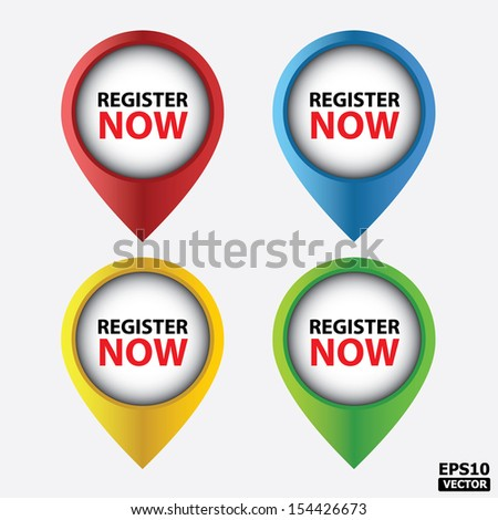 Register now buttons(tags, sign, symbol, icons).-eps10 vector - stock vector