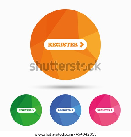 Register with arrow sign icon. Membership symbol. Website navigation. Triangular low poly button with flat icon. Vector - stock vector