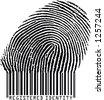 Registered Identity - Fingerprint becoming barcode (vertor format) - stock vector