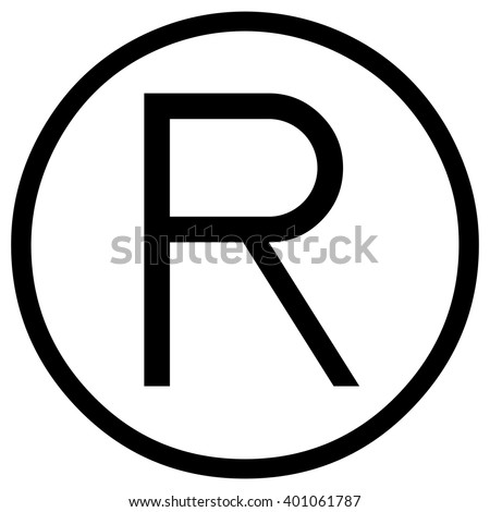 registered sign, black vector icon. - stock vector