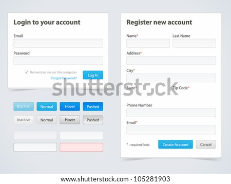 Registration form and login form - stock vector