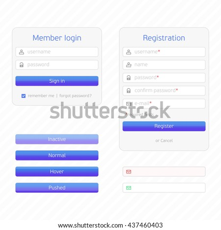 Registration form and login form with simple icons. UI elements. Login, Registration and additional elements form, flat design. - stock vector
