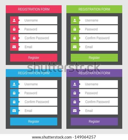 Registration form, flat design - stock vector