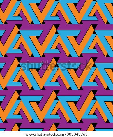 Regular extraordinary geometric seamless pattern with stylized triangles. Vivid continuous texture decoration, best for graphic and web design. Saturated background. - stock vector