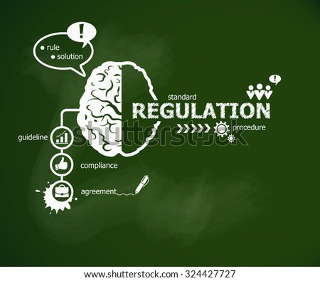 Regulation concept and brain. Hand writing Regulation with chalk on green school board - stock vector