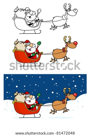 Reindeer and Flying Santa Claus In His Sleigh.Vector Collection - stock vector