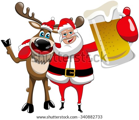 Reindeer and Santa Claus hugging and holding beer mug isolated - stock vector