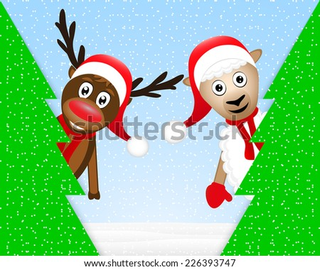 reindeer and sheep in the Christmas forest - stock vector