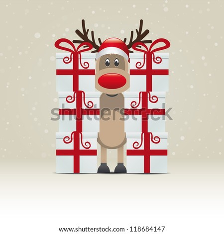 reindeer behind gift stack snowy winter background - stock vector