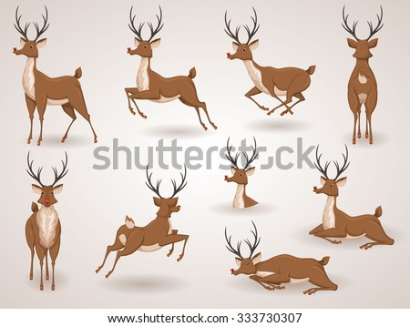 Reindeer Christmas icon set. Moving deer collection. Holiday vector illustration - stock vector